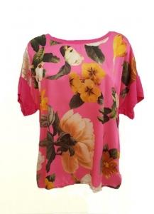 Floral Front Silk T-Shirt Pink