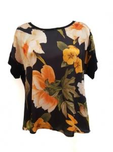 Floral Front Silk T-Shirt Black