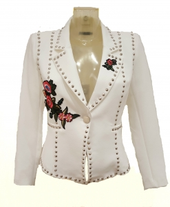 Stud Flower Detil Blazer White