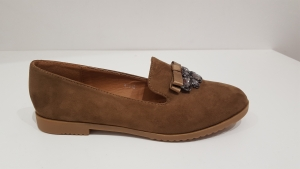 Jewel Front Shoes Beige