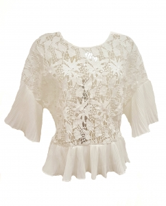 Pleated Trim Lace Top White