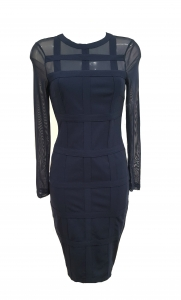 Grid mesh Sleeve Midi Dress Navy