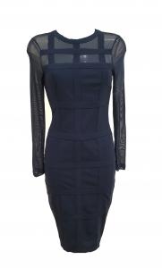 Grid mesh Sleeve Midi Dress Navy