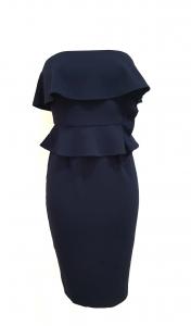 Strapless Layered Top Midi Dress Navy