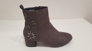 Flower Back Boot Grey