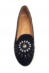 Jewel Flower Shoe Black