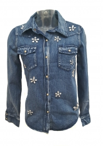 Jewel Flower Denim Shirt