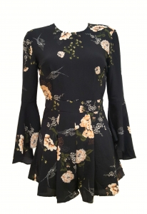 Floral Flare Sleeve Playsuit