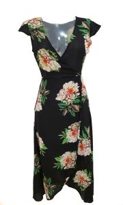 Floral Wrap Dress Black