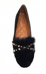 Fur And Stud Shoe Black