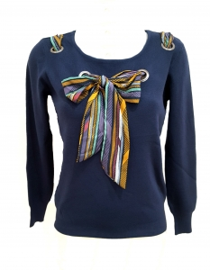 Printed Bow Front Jumper