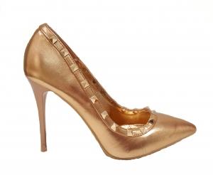 Metallic Stud Heel Rose Gold