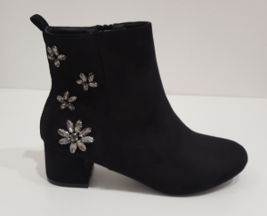 Flower Back Boot Black