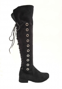 Lace Back Boots Grey