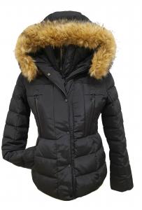 Short Fur Trim Parka Black