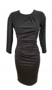 Long Sleeve Side Gathered Dress Black
