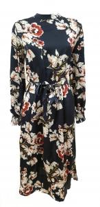 Floral Silk Midi Dress Navy