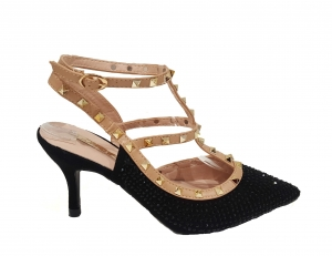 Diamante Strap Heels Black